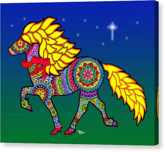 Colorful Horse Tangle Design Canvas Print