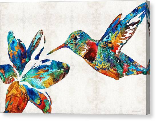 Primary Canvas Print - Colorful Hummingbird Art By Sharon Cummings by Sharon Cummings