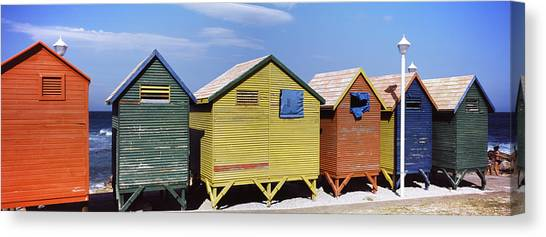 Cape Town Canvas Print - Colorful Huts On The Beach, St. James by Panoramic Images