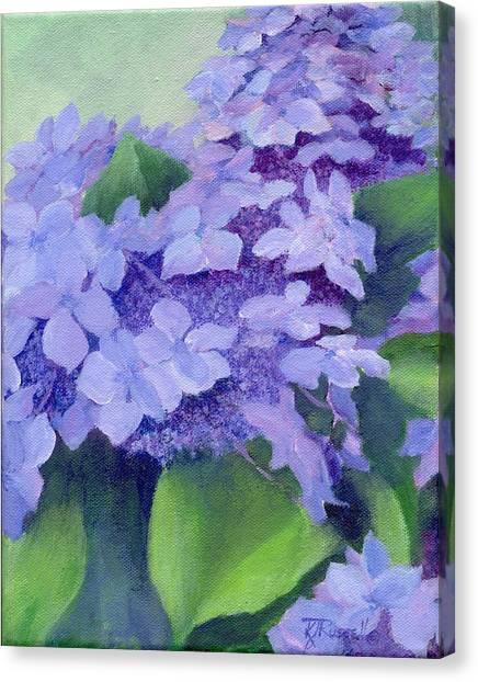 Colorful Hydrangeas Original Purple Floral Art Painting Garden Flower Floral Artist K. Joann Russell Canvas Print