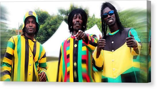 Colorful Jamaican Stilt Walkers Canvas Print