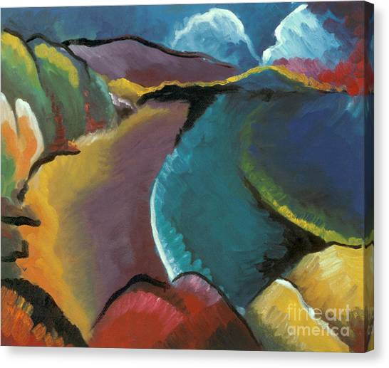 colorful abstract oil painting - Rocky Beach Canvas Print