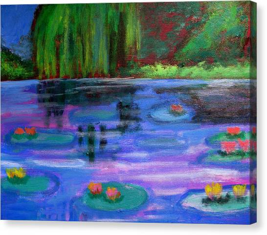 Colorful Lilly  Pad Flowers After Monet Canvas Print