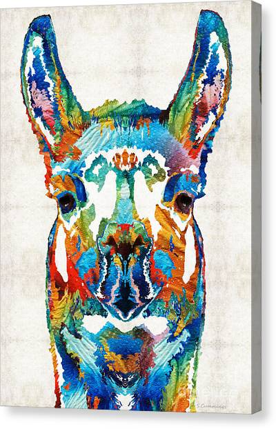 Peruvian Canvas Print - Colorful Llama Art - The Prince - By Sharon Cummings by Sharon Cummings