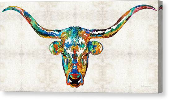Aac Canvas Print - Colorful Longhorn Art By Sharon Cummings by Sharon Cummings