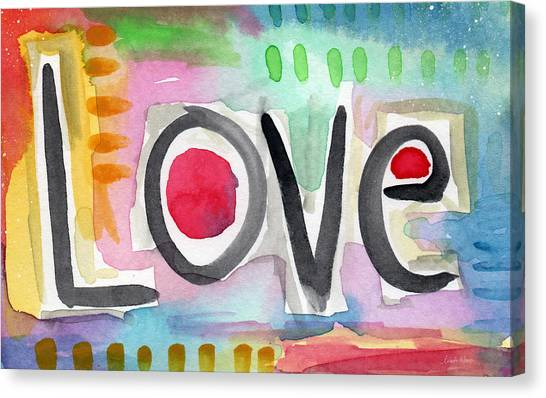 Abstract Designs Canvas Print - Colorful Love- Painting by Linda Woods