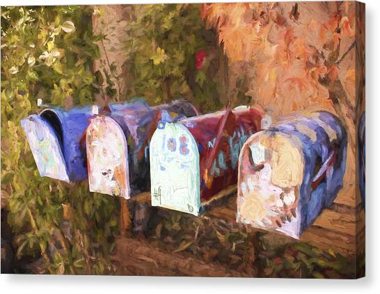 Mail Boxes Canvas Print - Colorful Mailboxes Santa Fe Painterly Effect by Carol Leigh