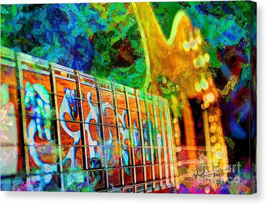 Colorful Music Digital Guitar Art By Steven Langston Canvas Print by Steven Lebron Langston