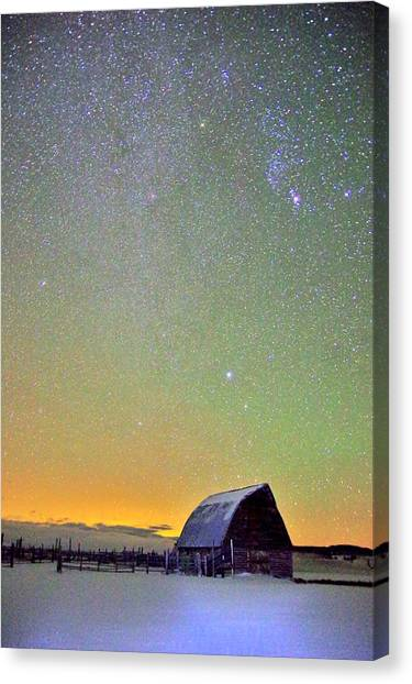 Colorful Night Barn Canvas Print