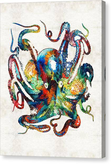 Rainbows Canvas Print - Colorful Octopus Art By Sharon Cummings by Sharon Cummings