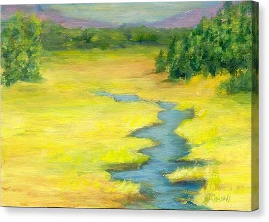 Colorful Original Landscape Painting Mountain Meadow Canvas Print