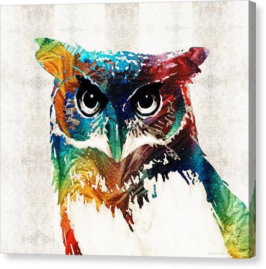 Canvas Print featuring the painting Colorful Owl Art - Wise Guy - By Sharon Cummings by Sharon Cummings