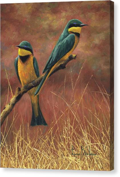 African Canvas Print - Colorful Pair by Lucie Bilodeau