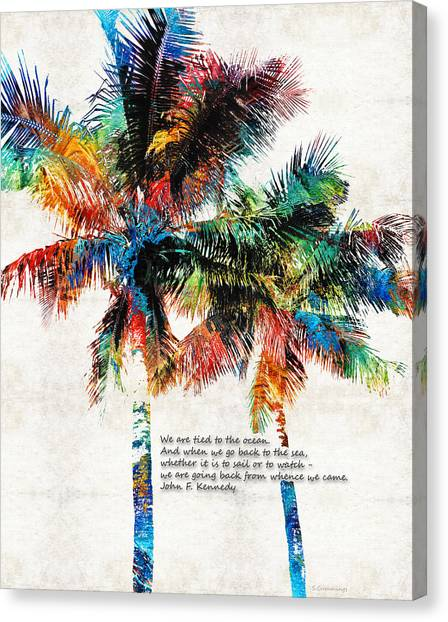 John F. Kennedy Canvas Print - Colorful Palm Trees - Returning Home - By Sharon Cummings by Sharon Cummings