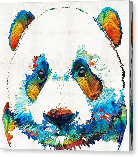 Panda Canvas Print - Colorful Panda Bear Art By Sharon Cummings by Sharon Cummings