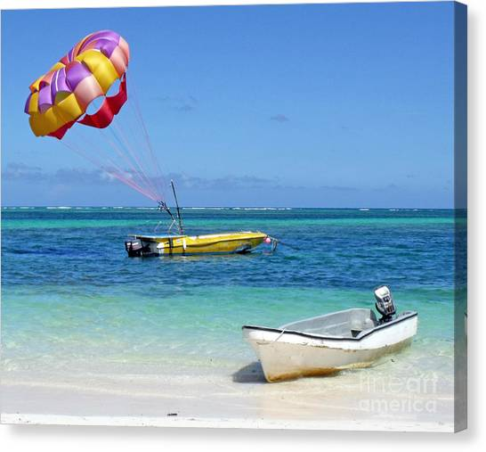 Colorful Parachute - Waiting To Parasail Canvas Print