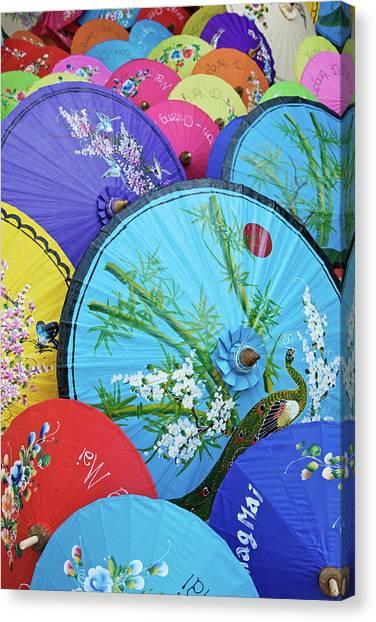 Colorful Parasols, Chiang Mai, Thailand Canvas Print