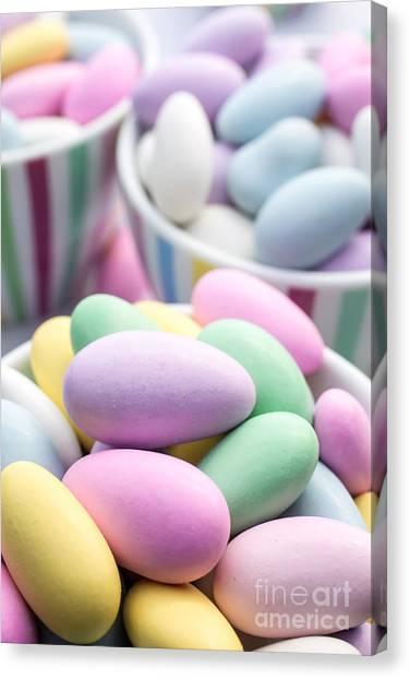 Brunch Canvas Print - Colorful Pastel Jordan Almond Candy by Edward Fielding