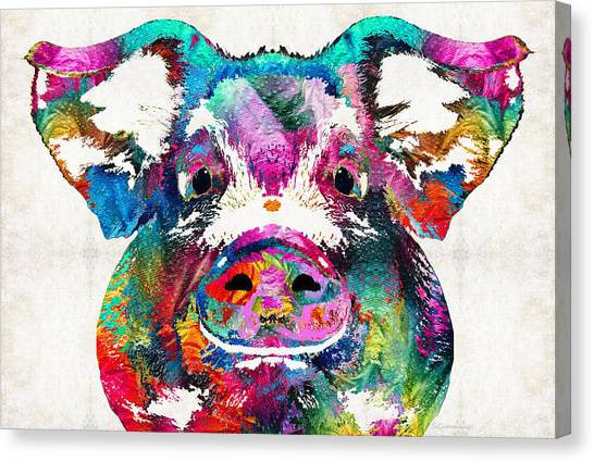 Bacon Canvas Print - Colorful Pig Art - Squeal Appeal - By Sharon Cummings by Sharon Cummings