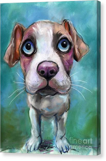 Pit Bull Canvas Print - Colorful Pit Bull Puppy With Blue Eyes Painting  by Svetlana Novikova