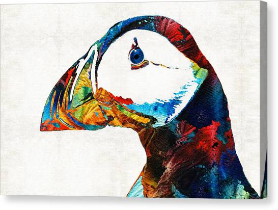 Puffins Canvas Print - Colorful Puffin Art By Sharon Cummings by Sharon Cummings