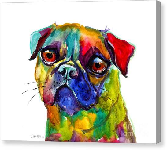 Pugs Canvas Print - Colorful Pug Dog Painting  by Svetlana Novikova