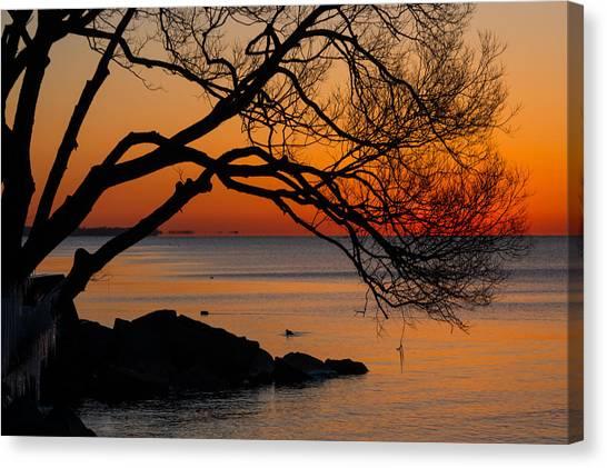Colorful Quiet Sunrise On Lake Ontario In Toronto Canvas Print