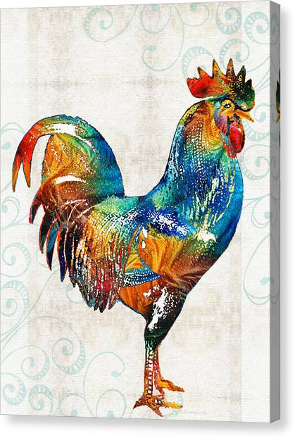 Roosters Canvas Print - Colorful Rooster Art By Sharon Cummings by Sharon Cummings