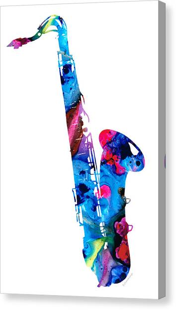 Music Canvas Print - Colorful Saxophone 2 By Sharon Cummings by Sharon Cummings