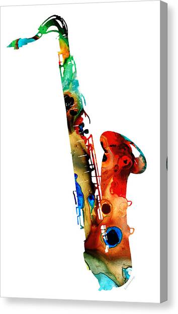 Jazz Canvas Print - Colorful Saxophone By Sharon Cummings by Sharon Cummings
