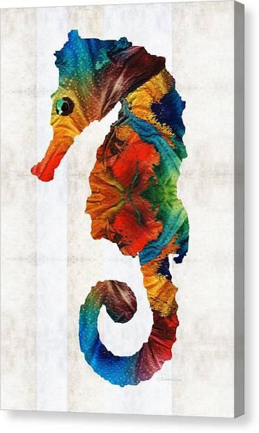 Marine Life Canvas Print - Colorful Seahorse Art By Sharon Cummings by Sharon Cummings