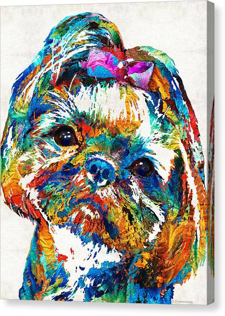 Shih Tzus Canvas Print - Colorful Shih Tzu Dog Art By Sharon Cummings by Sharon Cummings