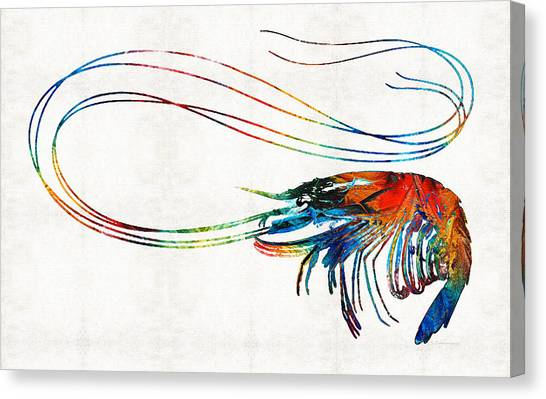 Shrimping Canvas Print - Colorful Shrimp Art By Sharon Cummings by Sharon Cummings