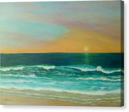 Colorful Sunset Beach Paintings Canvas Print