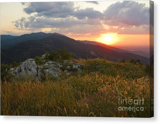 Sunrise Horizon Canvas Print - Colorful Sunset Over The Mountain Slope by Kiril Stanchev