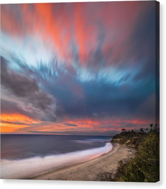 Coastal Landscape Canvas Print - Colorful Swamis Sunset - Square by Larry Marshall