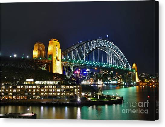 Colorful Sydney Harbour Bridge By Night Canvas Print