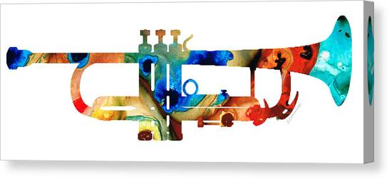 Classical Music Canvas Print - Colorful Trumpet Art By Sharon Cummings by Sharon Cummings