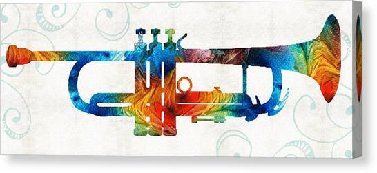 Marching Bands Canvas Print - Colorful Trumpet Art Color Fusion By Sharon Cummings by Sharon Cummings