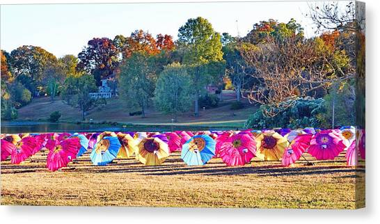 Colorful Umbrellas At The Park Canvas Print