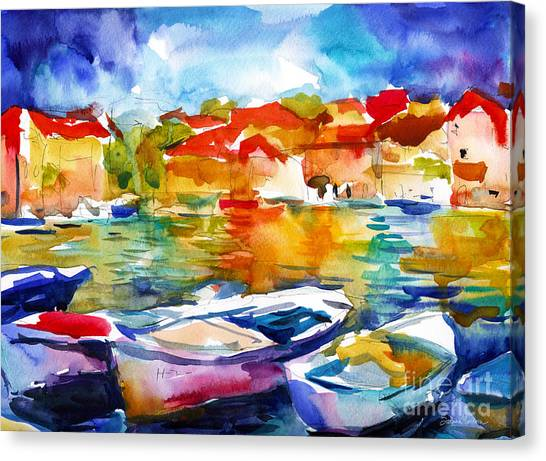 Canvas Print - Colorful Watercolor Boats European Water Scape by Svetlana Novikova