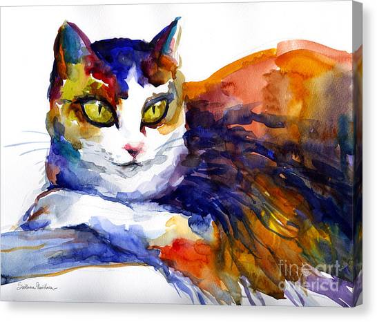 Watercolor Pet Portraits Canvas Print - Colorful Watercolor Cat On A Tree Painting by Svetlana Novikova