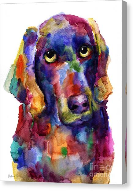 Weimaraners Canvas Print - Colorful Weimaraner Dog Art Painted Portrait Painting by Svetlana Novikova