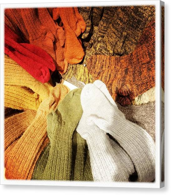 Abstract Canvas Print - Colorful Woolen Socks by Matthias Hauser