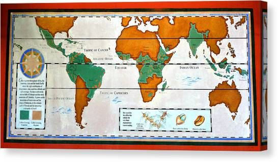 Colorful World Map Of Coffee Canvas Print