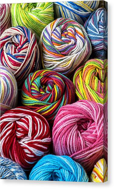 Sewing Canvas Print - Colorful Yarn by Garry Gay