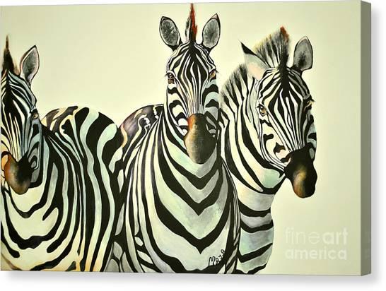 Colorful Zebras Painting Canvas Print