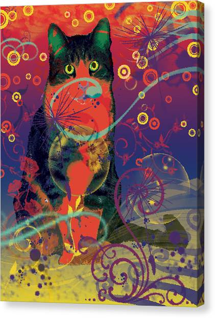Dean Russo Canvas Print - Colorfur Cat by Eva Csilla Horvath