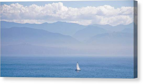 Colors Of Alaska - Sailboat And Blue Canvas Print