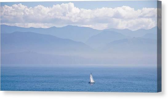 Colors Of Alaska - Sailboat And Blue Canvas Print